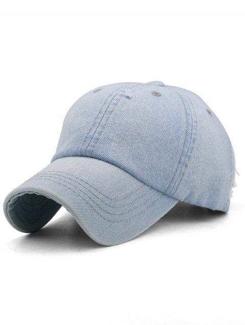 Solid Color Washed Distressed Graphic Hat - BABY BLUE