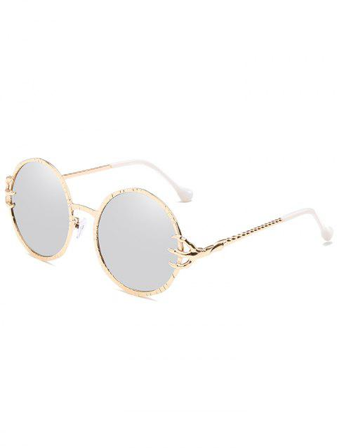 Anti UV Metal Frame Paws Decorative Circle Sunglasses - PLATINUM
