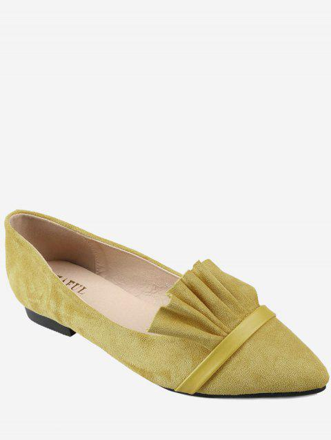 Chic Slip On Ruffles Pointed Toe Flats - YELLOW 36