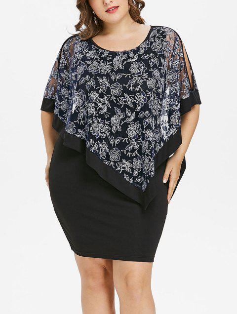 Plus Size Split Sleeve Capelet Fitted Dress - BLACK 5X