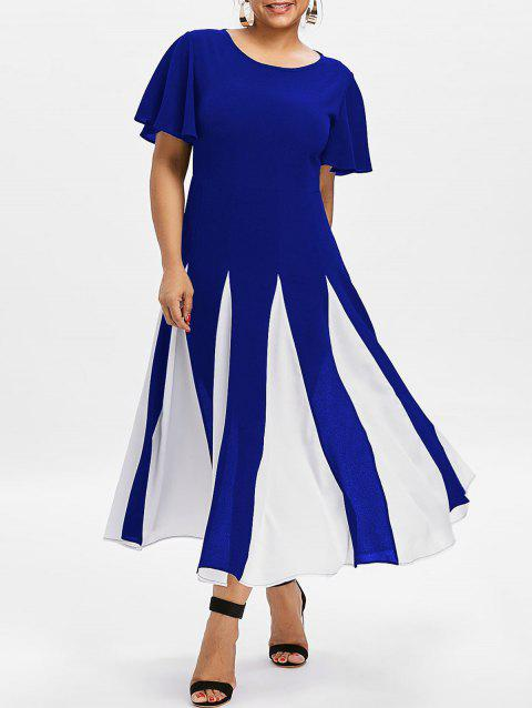 Plus Size Color Block Dress - COBALT BLUE 4X