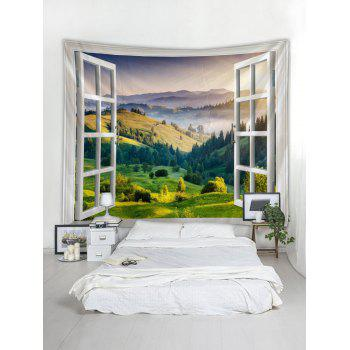 Landscape through Open Window Print Wall Art Tapestry - multicolor W79 INCH * L59 INCH