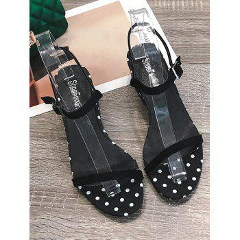 Hollow Out Heel Polka Dot Buckled Strap Sandals - BLACK 37