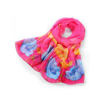 Lightweight Blooming Floral Pattern Long Scarf - ROSE RED