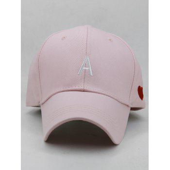 Sweetheart Embroidery Breathable Sunscreen Hat - LIGHT PINK