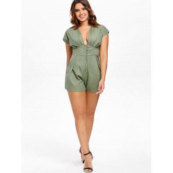 Button Embellished Empire Waist Romper - GREEN S