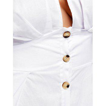Button Embellished Empire Waist Romper - WHITE M