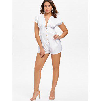 Button Embellished Empire Waist Romper - WHITE L