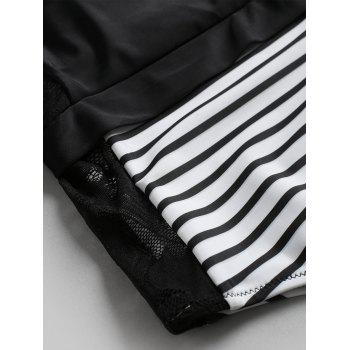 One Shoulder Striped Swimsuit - BLACK S