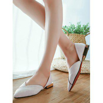 Pointed Toe Slip On Ballet Flat Heels - PEARL 38