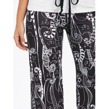 Cartoon Cat Print Drawstring Palazzo Pants - BLACK XL
