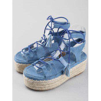 Platform Crisscross Leisure Lace Up Sandals - DENIM BLUE 40