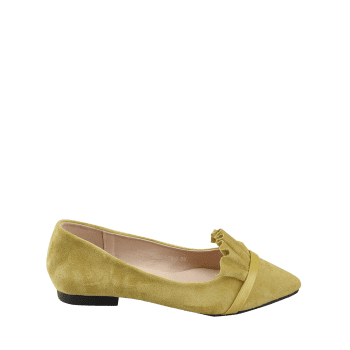 Chic Slip On Ruffles Pointed Toe Flats - YELLOW 37