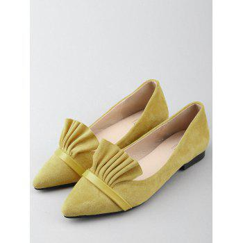 Chic Slip On Ruffles Pointed Toe Flats - YELLOW 38