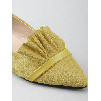 Chic Slip On Ruffles Pointed Toe Flats - YELLOW 40