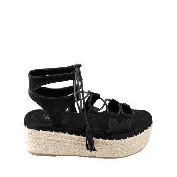 Platform Espadrille Heel Lace Up Sandals - BLACK 40