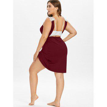 Plus Size Beach Cover-up Wrap Dress - RED WINE 3X