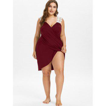 Plus Size Beach Cover-up Wrap Dress - RED WINE 5X