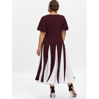 Plus Size Color Block Dress - RED WINE 1X