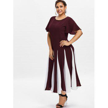 Plus Size Color Block Dress - RED WINE 3X