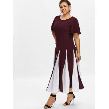 Plus Size Color Block Dress - RED WINE 4X