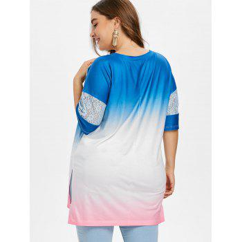 Plus Size Lace Trim Gradient Dip Hem T-shirt - multicolor 1X