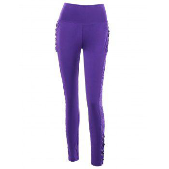 High Rise Criss Cross Lace Panel Pencil Pants - VIOLET L
