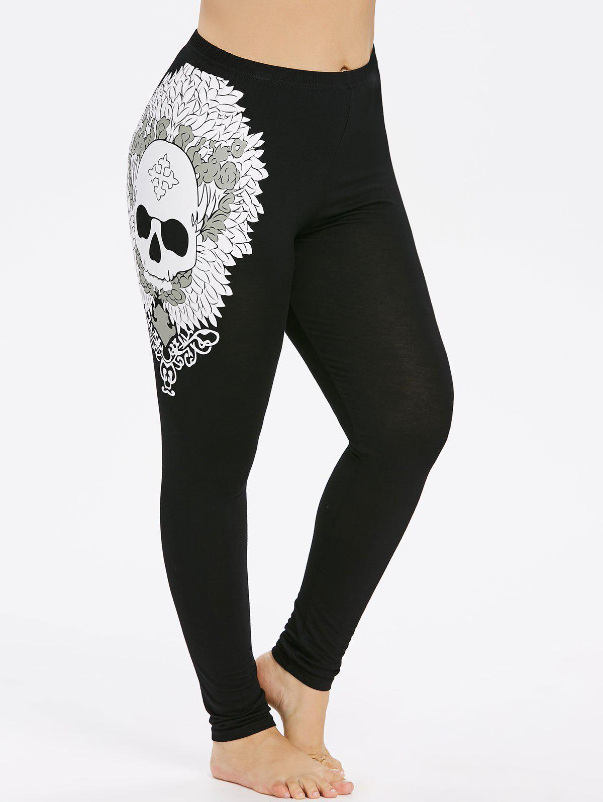 Plus Size Skull Leggings - BLACK 1X