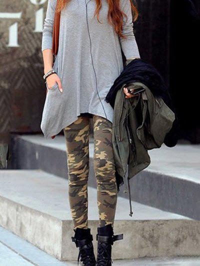 Women's Fashionable Camouflage Pattern Slim Fit Leggings camouflage print ankle leggings