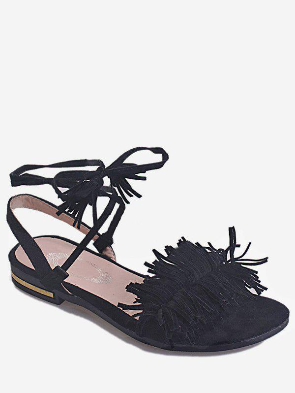 Ankle Wrapped Flat Heel Sandals - BLACK 40