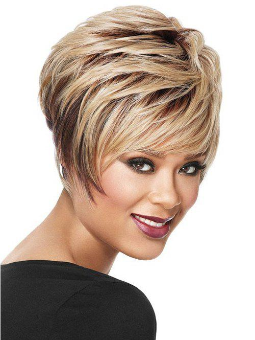 Short Side Bang Colormixed Layered Straight Synthetic Wig - multicolor