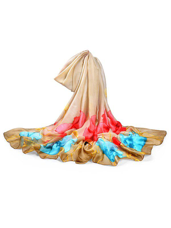 Lightweight Blooming Floral Pattern Long Scarf - CAMEL BROWN