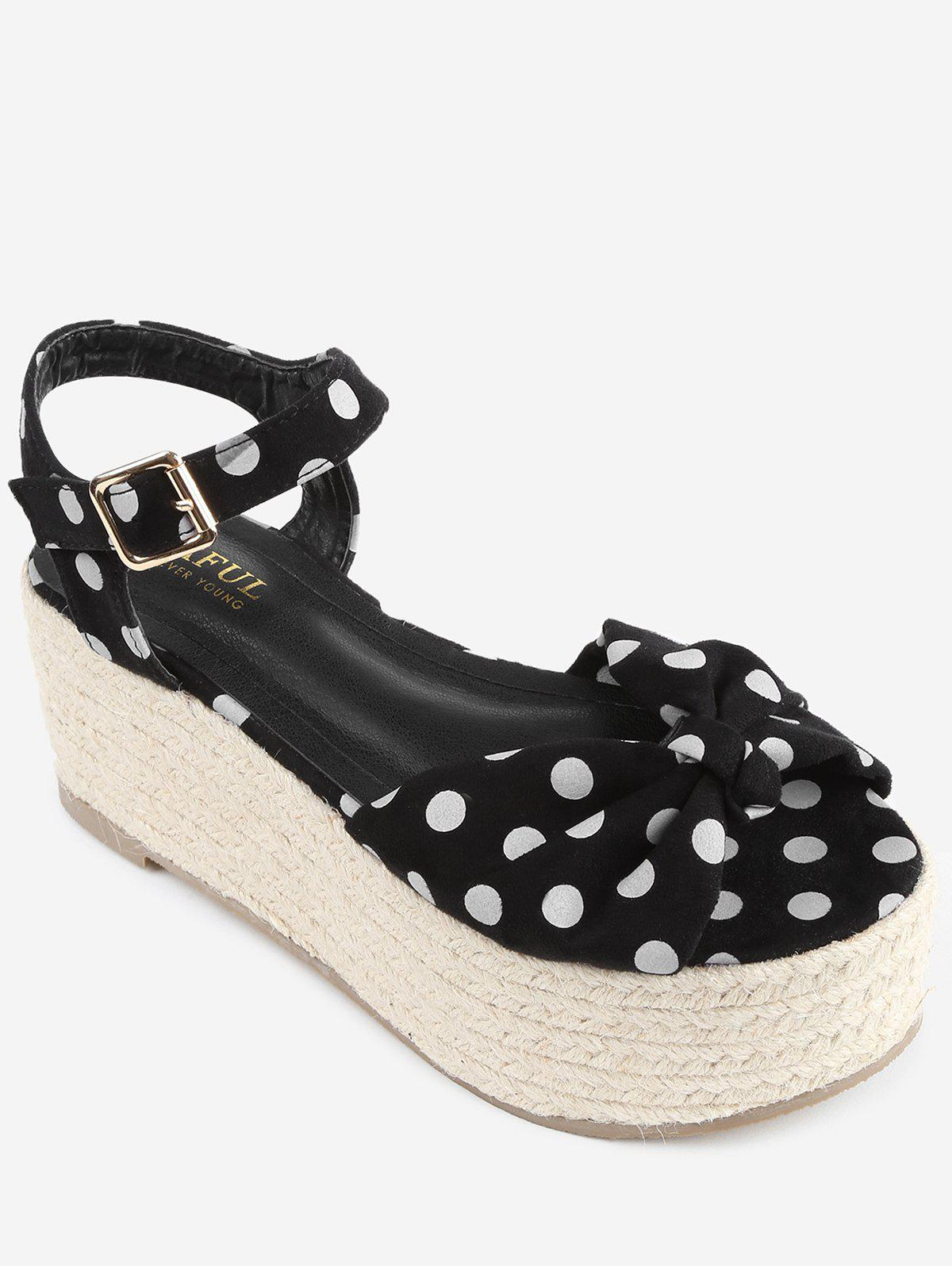Polka Dot Espadrille Platform Sandals - BLACK 37