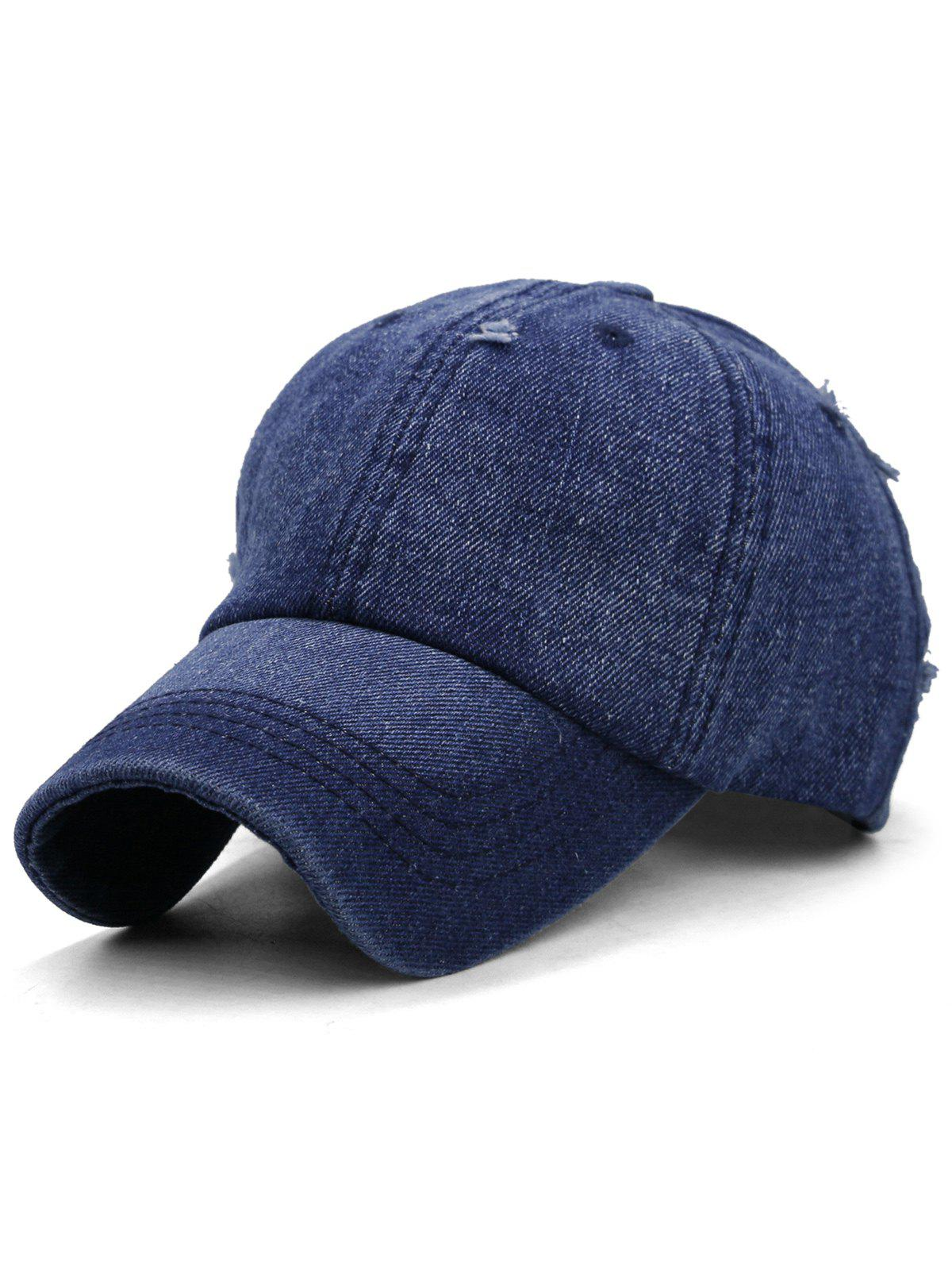 Solid Color Washed Distressed Graphic Hat - LAPIS BLUE