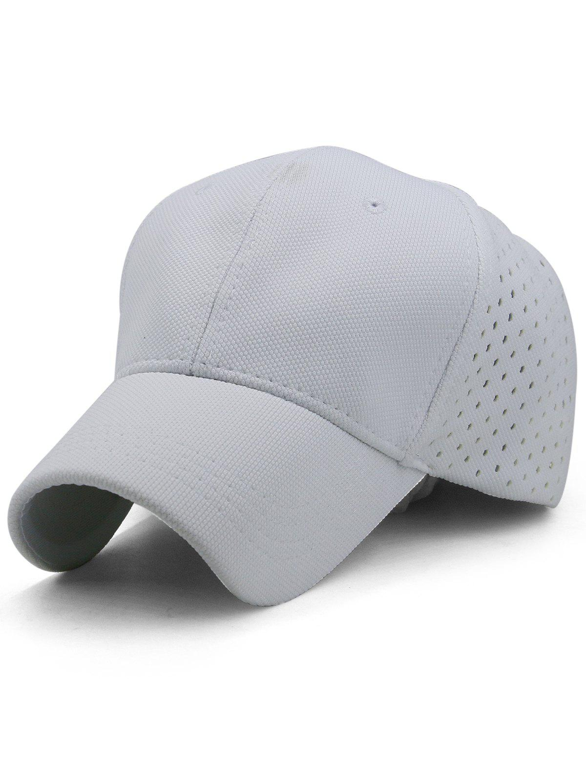 Solid Color Hollow Out Hunting Hat - WHITE