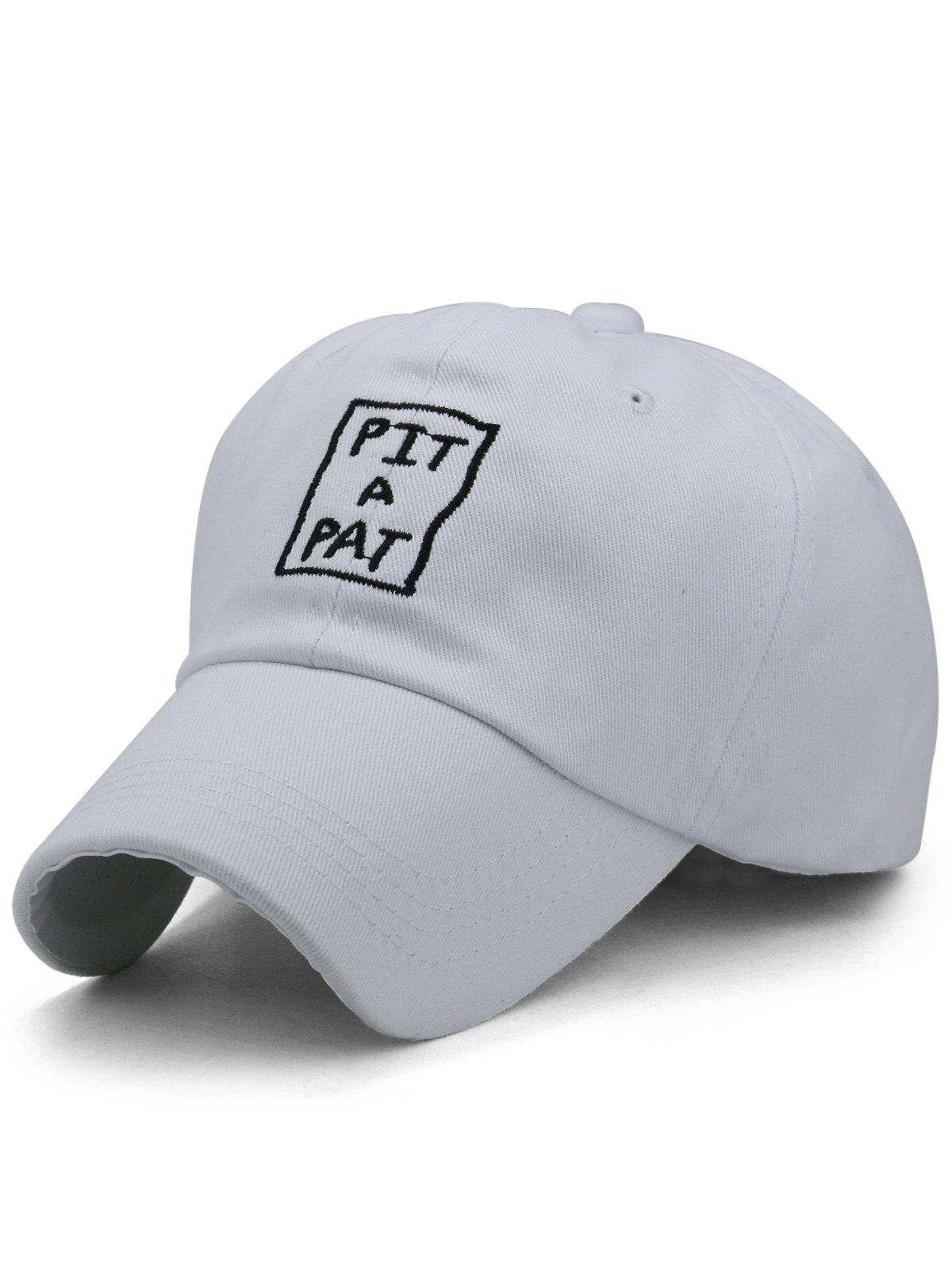 PIT A PAT Embroidery Sunscreen Hat - WHITE