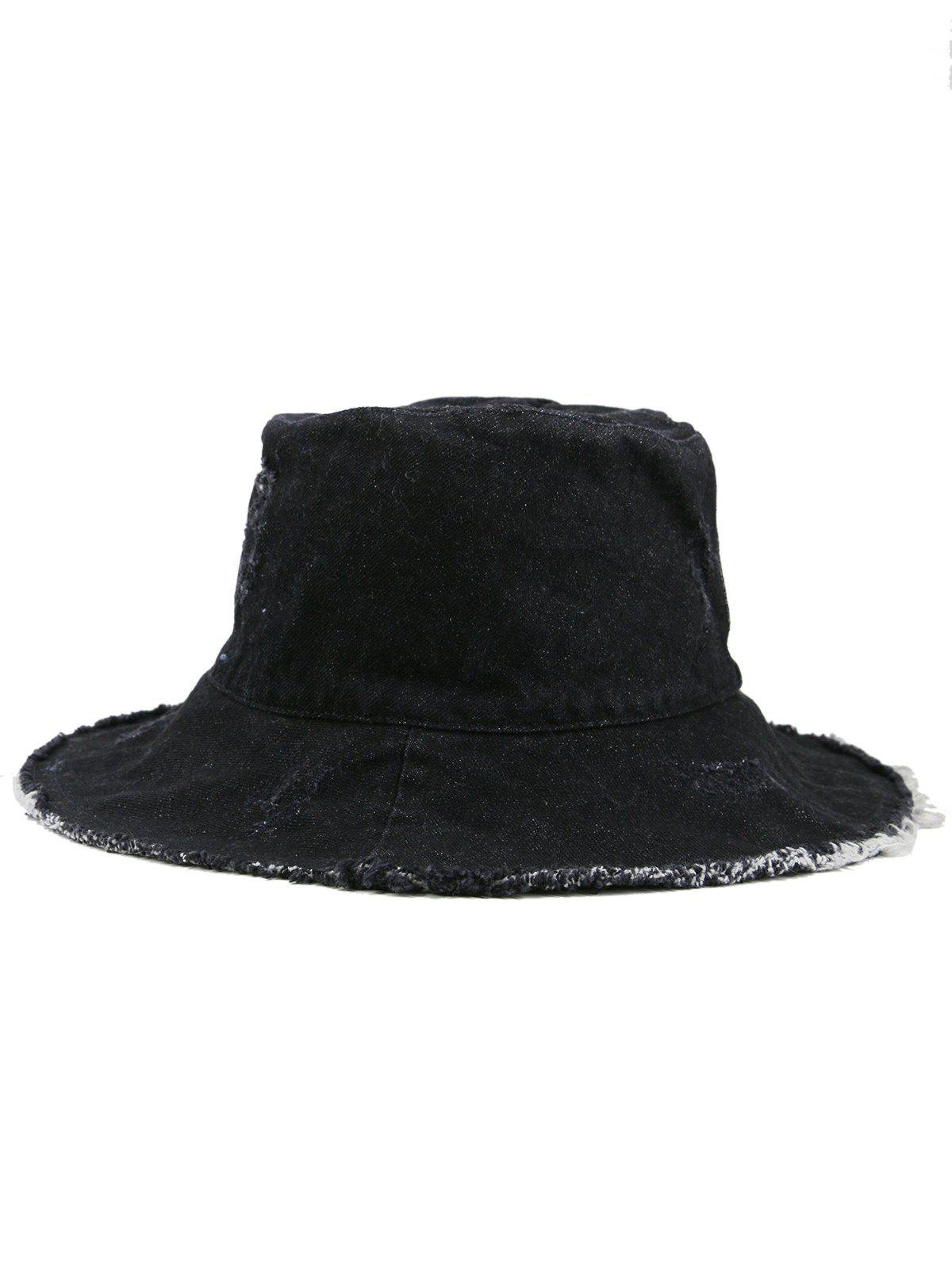 Washed Dyed Fringed Denim Fisherman Hat - BLACK