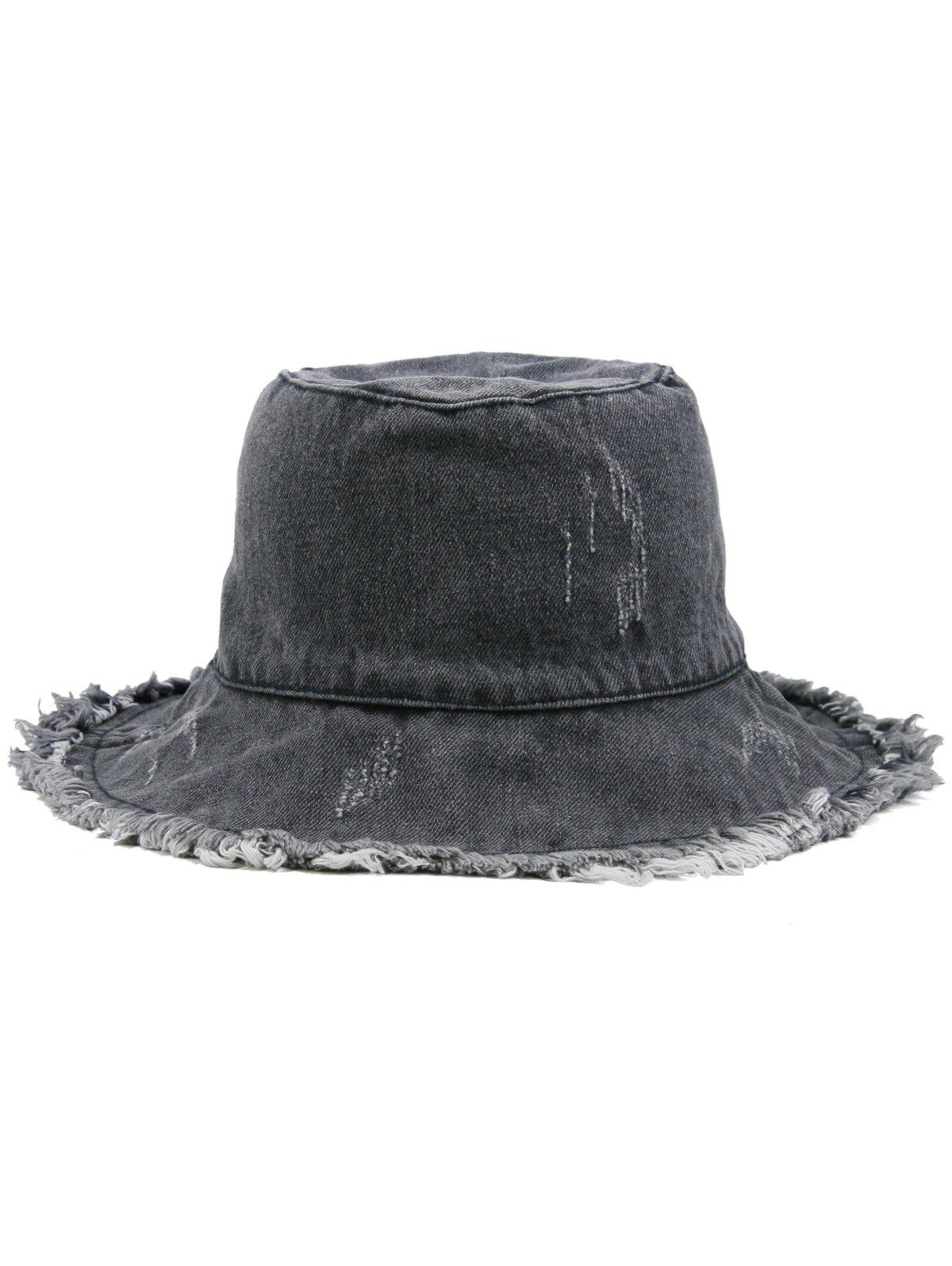 Washed Dyed Fringed Denim Fisherman Hat - GRAY