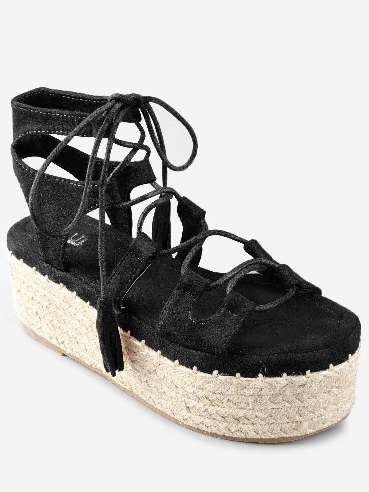Platform Espadrille Heel Lace Up Sandals - BLACK 39