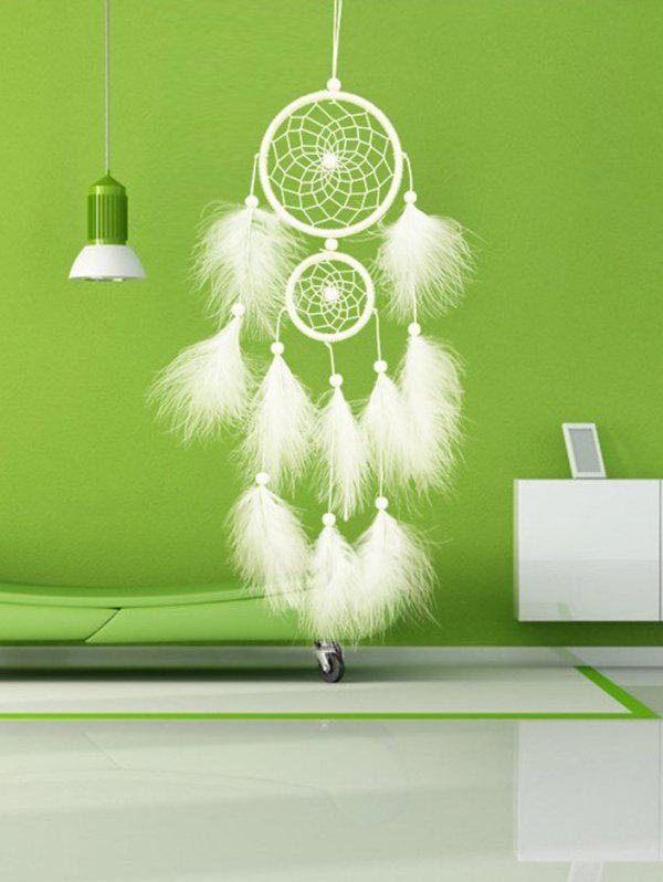 Hanging Beads Decorations Feathers Dream Catcher - WHITE