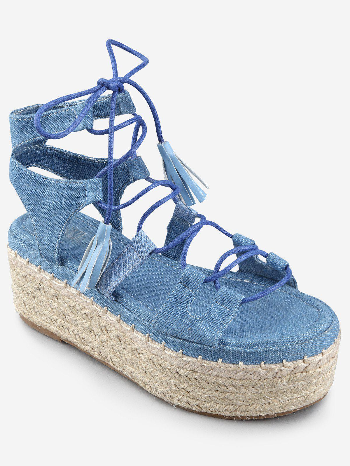 Platform Crisscross Leisure Lace Up Sandals - DENIM BLUE 36