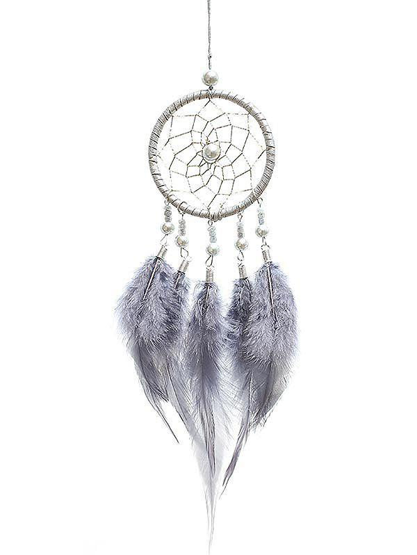 Home Decor Beads Decorations Feathers Dream Catcher - GRAY CLOUD