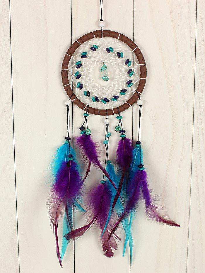 Stone Beads Decorations Hanging Feathers Dream Catcher - multicolor