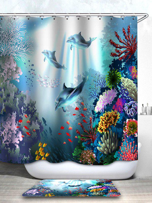 Underwater Dolphin Print Waterproof Shower Curtain with Bath Mat - multicolor