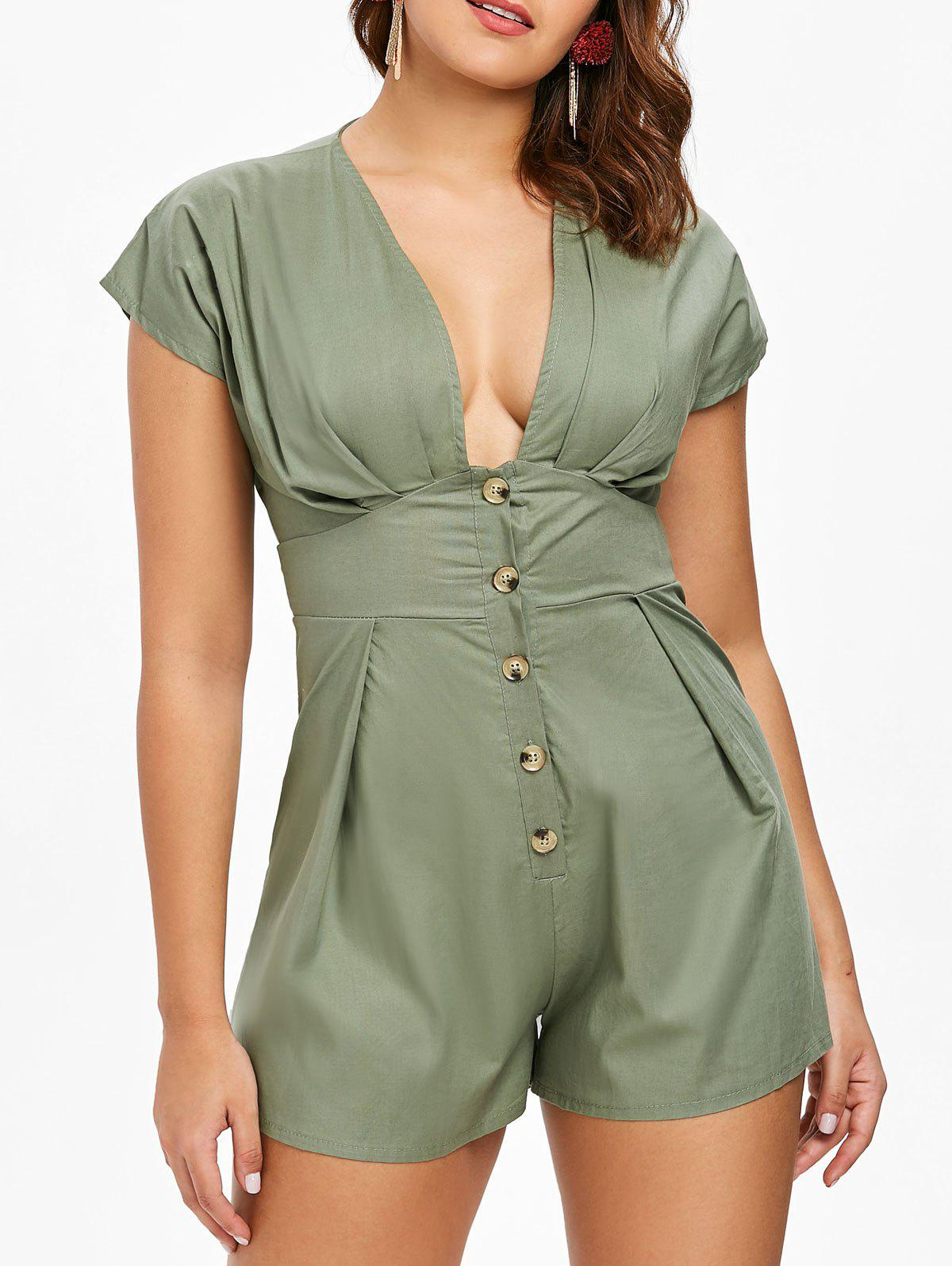Button Embellished Empire Waist Romper - GREEN M
