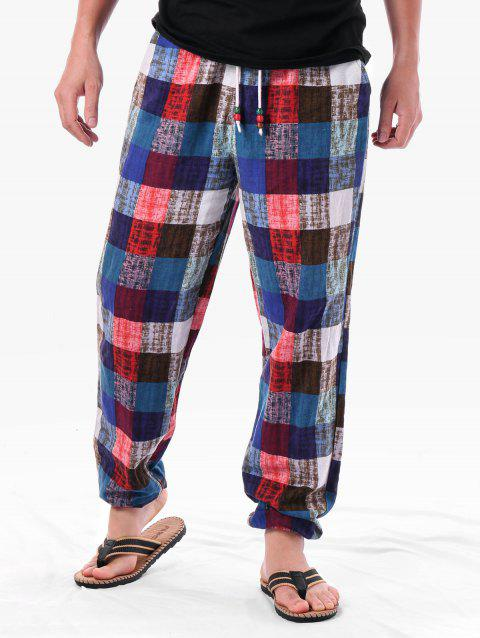 Drawstring Waist Checkered Sweatpants - COLORMIX XL