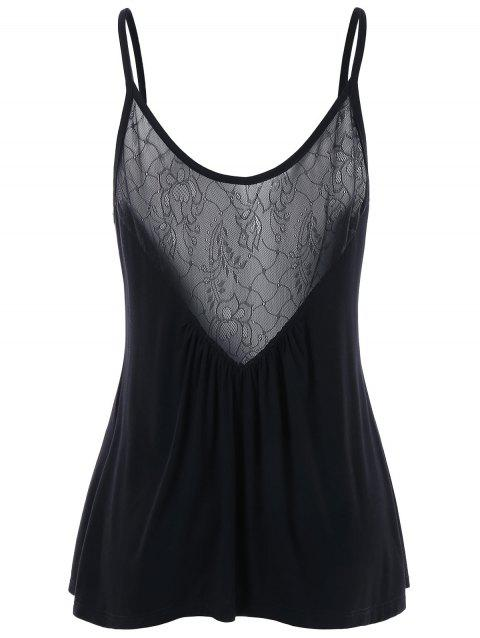 Lace Panel Swing Camisole - BLACK XL