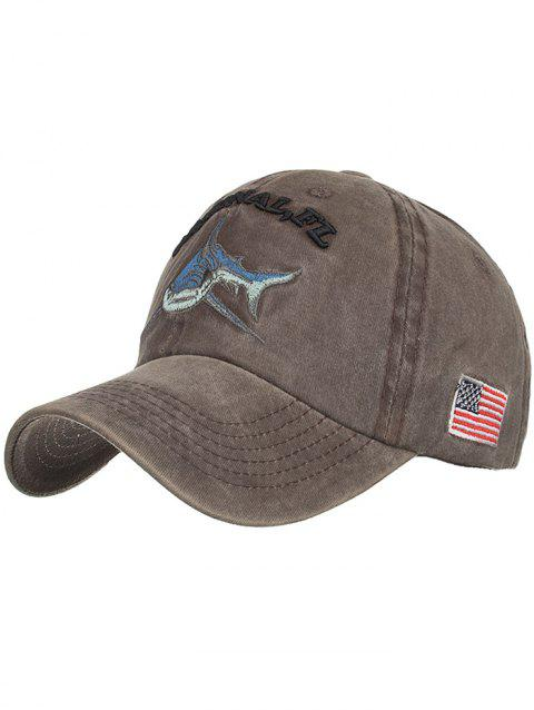 Shark Embroidery Adjustable Graphic Hat - COFFEE