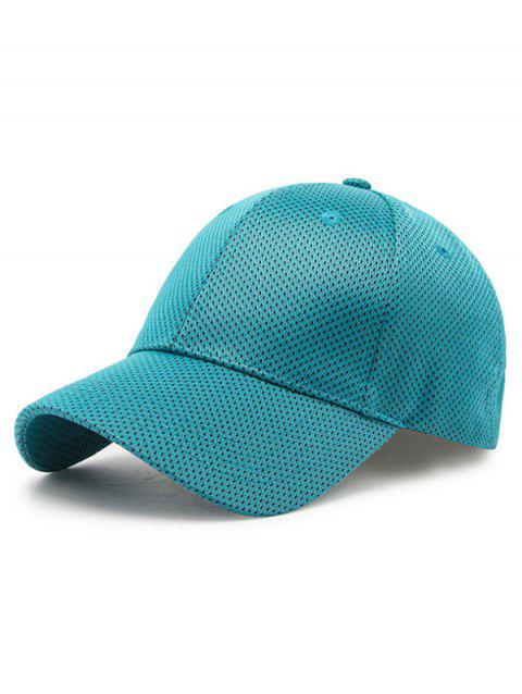 Solid Color Breathable Mesh Snapback Hat - LIGHT SEA GREEN
