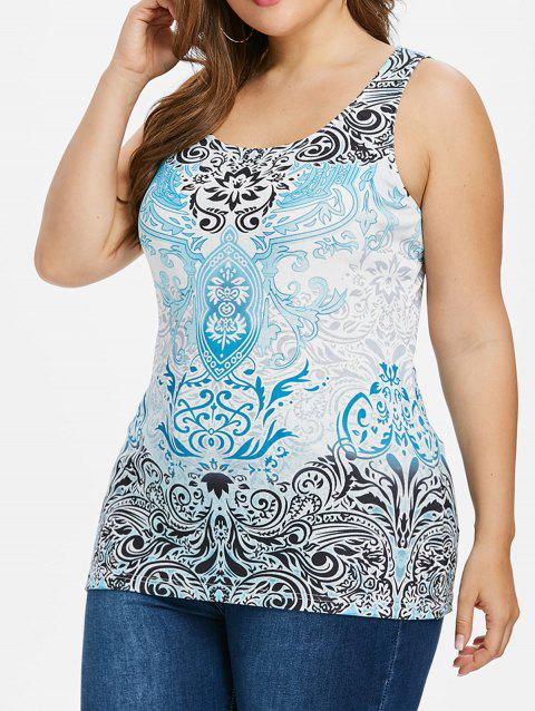 Plus Size Baroque Print Scoop Neck Tank Top - LIGHT BLUE L